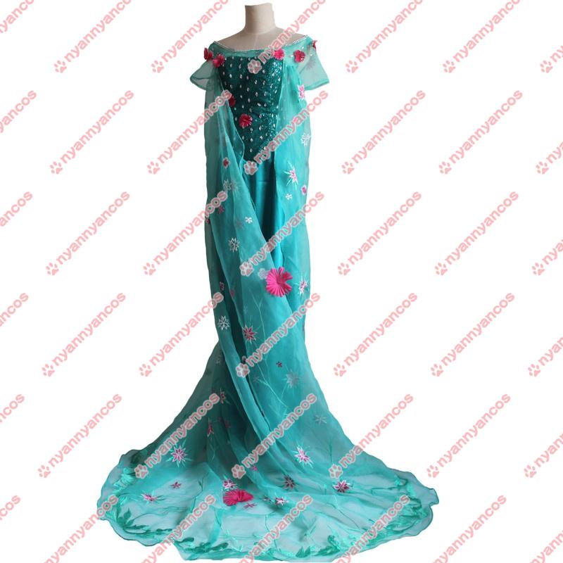 画像1: 高品質 実物撮影 アナと雪の女王 エルサのサプライズ Frozen Fever エルサ Elsa 風 ハロウィン お姫様    コスプレ衣装 コスチューム オーダーメイド (1)