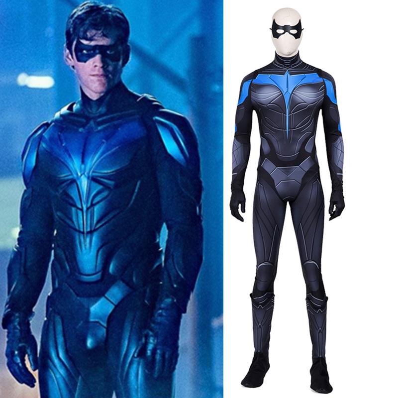 画像1: 高品質 実物撮影   ナイトウィング Nightwing 風  Titans タイタンズ  靴付き   コスチューム コスプレ衣装 コスプレ靴 ブーツ付き  バラ売り可 (1)